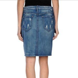 MOTHER   High Waisted Denim Dart Skirt